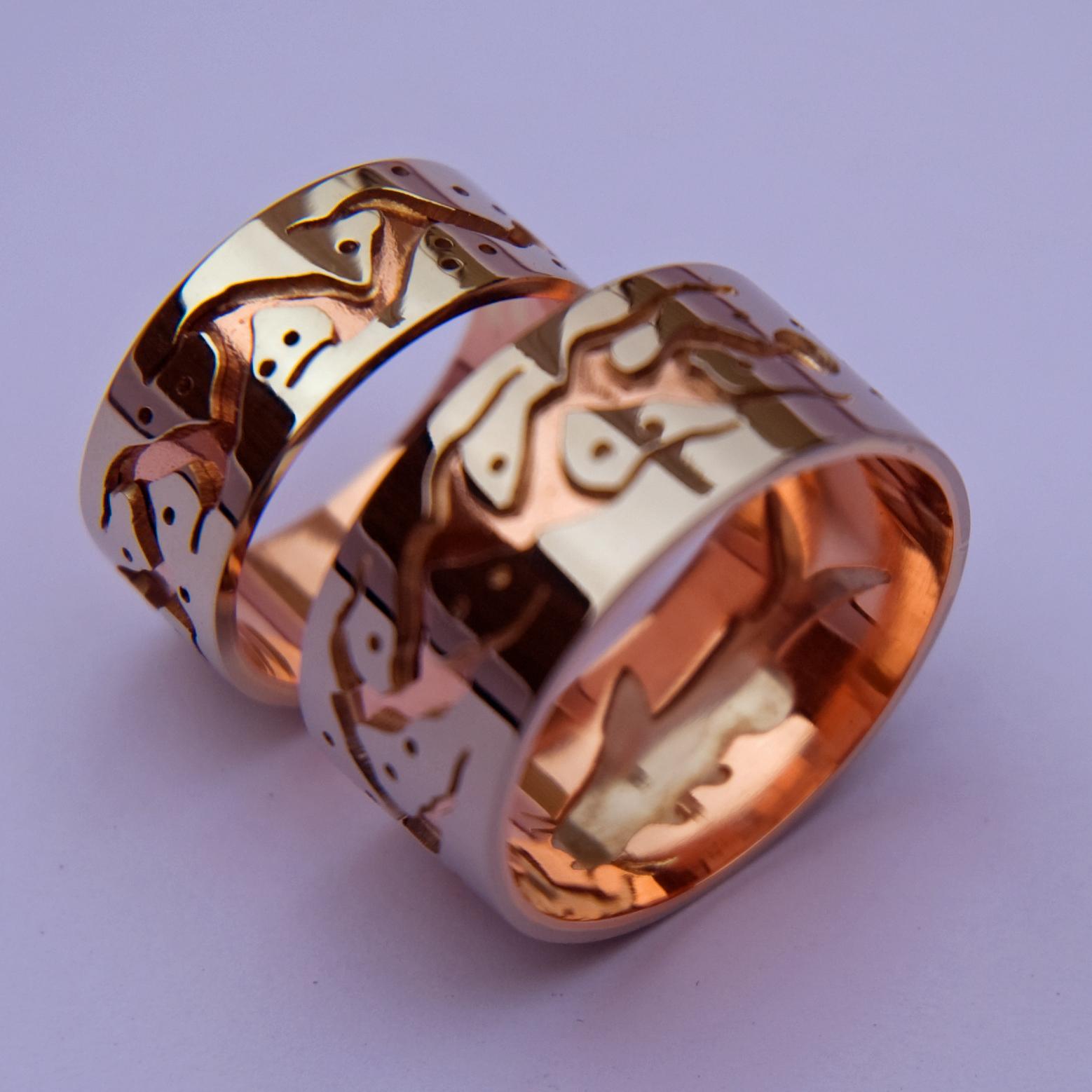 Design trouwringen ontworpen met behulp van de overlay-techniek zijn een specialiteit van ZhaawaArt